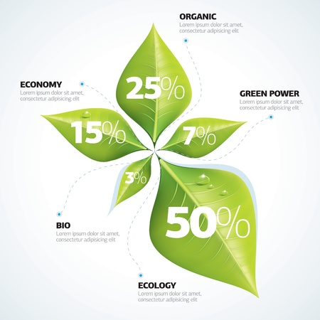 Green economy concept - Leafs inforgaphics  Illustration