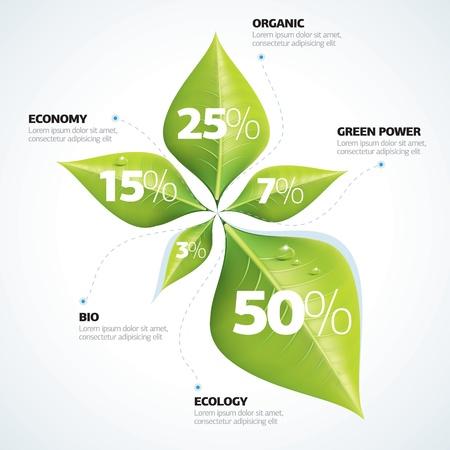 green economy: Green economy concept - Leafs inforgaphics  Illustration