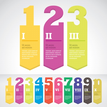 10 number: Modern arrow banner style step up options stickers  Vector illustration  For workflow layout, diagram, number options, web design, infographics