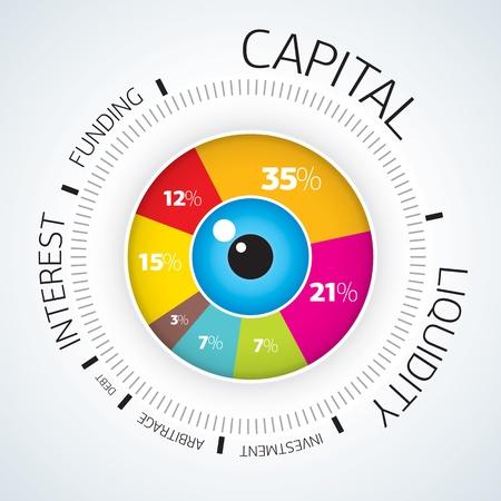 Инфографика - Вектор круг бизнес принципиальная схема Иллюстрация