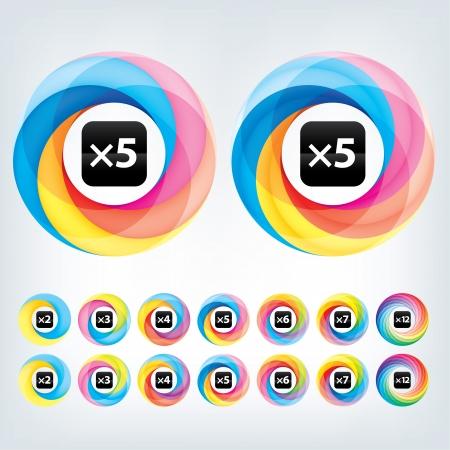 Аннотация шаблон Infinite логотип цикл Корпоративный значок 2,3,4,5,6,7 12 шт Формы Иллюстрация