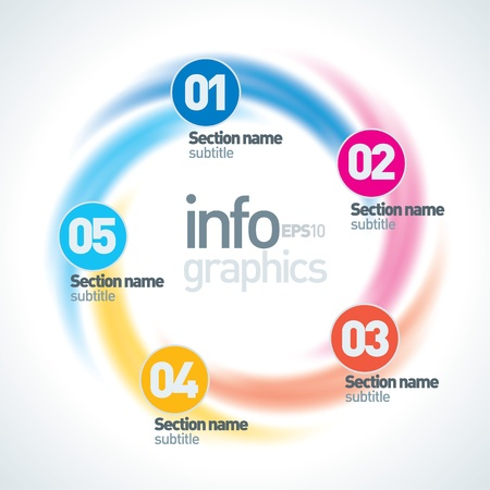 Abstract Infinite Paper Infographics. 5 Pieces Circle Shape Illustration