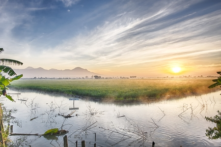 Fishpond followed by very vast, broad, extensive, spacious rice field , streched into the horizon.  Behind it is a line of hills and mountains that also expansive. Beautiful sun, cloud and blue sky. This photo captured at sunrise