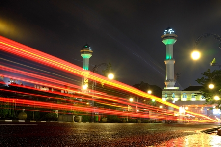 Light Trail, and Great Mosque Of Bandungs Tower in the background. 1 April 2016, Bandung, Indonesia