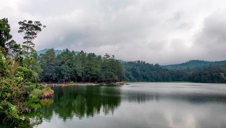大きな湖、この湖の側に木にその場 patengan、インドネシア西ジャワ州バンドンにあると呼ばれる