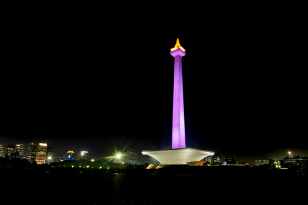 National Monument (Monas) at night, this is one of iconic monument in Jakarta, Indonesia