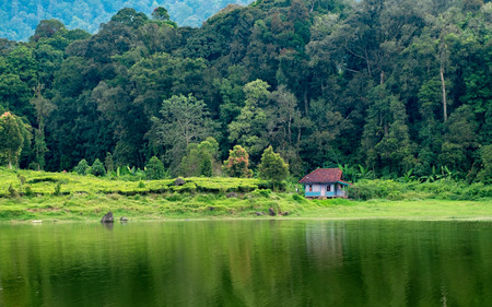 Little house in side of lake, with forest behind the house, captured in Bandung, Indonesia