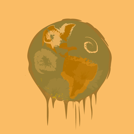 the greenhouse effect: Melting planet Earth.Global warming concept. Illustration