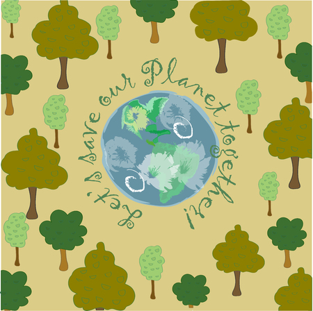 inscriptions: Planet Earth cartoon illustration with inscription Lets save our Planet together!