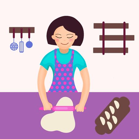 Woman rolls dough. Cooking dumplings in the kitchen. Vector illustration Illustration