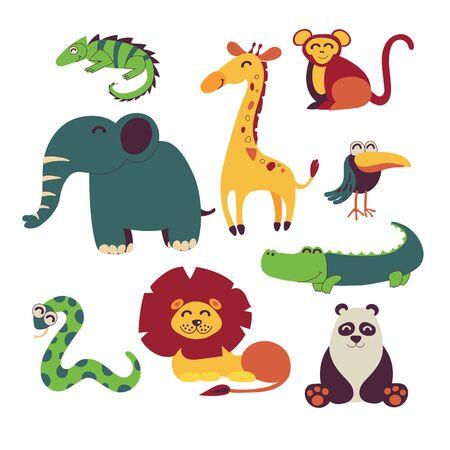 Cute jungle animals vector set isolated on white. Children illustration