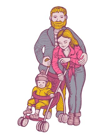 Happy young parents with a baby in a pram.Vector illustration isolated ob white