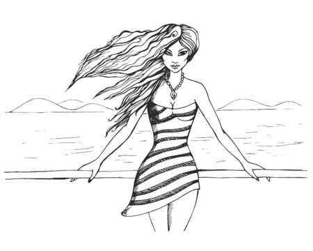 Beautiful young girl stands on the promenade  イラスト・ベクター素材