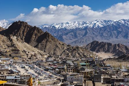 City of Leh Ladakh along the mountain - India