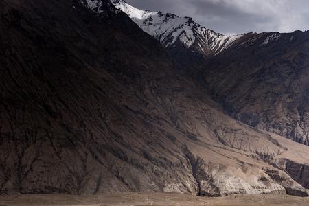 Base of gigantic mountain on the way to Hunder sand dunes, Nubra valley, Ladakh