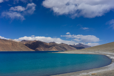 Shore of Pangong lake on a clear day, Ladakh, India