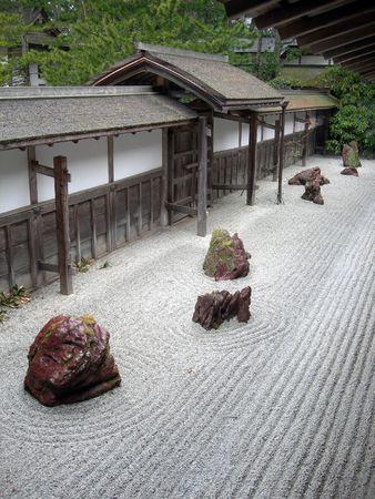 A zen garden in Koyasan, Japan after the rain