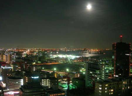 Night view in Kobe, Japan with a bright moon in the sky           Stok Fotoğraf