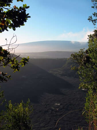 The Kilauea crater in the Volcanos National Park on Big Island Hawaii as seen from above on the Kau Desert Trail  Stok Fotoğraf