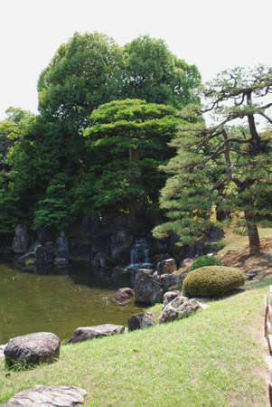 The pond in a Japanese garden Stok Fotoğraf
