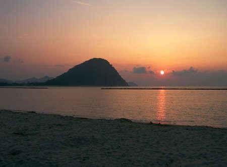 Sunset over the beach in Hagi, Japan