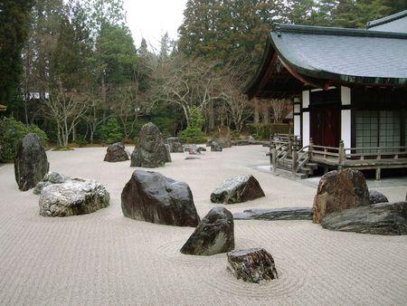A Traditional Buddhist Rock Garden In Koya-san,  Japan