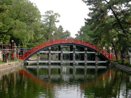 A curving bridge at the Sumiyoshi Shrine in Osaka, Japan