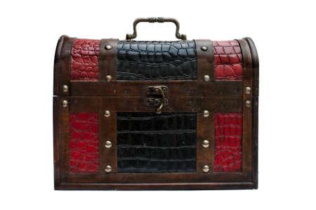Vintage locked chest, isolated on white background Stock Photo - 15968301