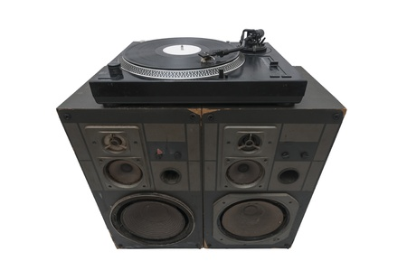 Turntables on speakers isolated on withe background,  photo