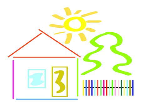 Nice illustration of a color house isolate on white Stock Illustration - 5432343