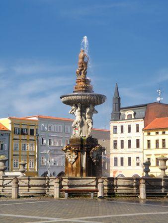 ceske: nice fontaine in a town in czech republic (ceske budejovice)   Stock Photo
