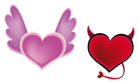devil angel: very nice illustration of two hearts - on as angel and second as devil