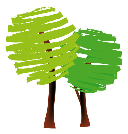 Vector illustration of two trees Vector