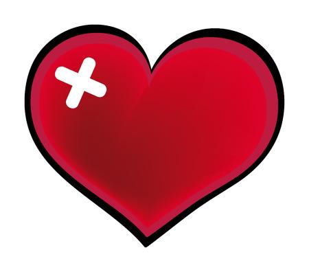 adhesive: coraz�n rojo con adhesivo de yeso  Vectores