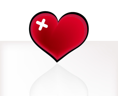 adhesive plaster: red heart with adhesive plaster