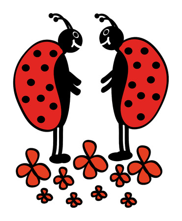 vector ladybugs are standing in flowers and are speaking Vector