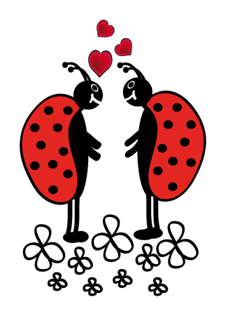 vector ladybugs in love are standing in flowers Stock Vector - 5881439