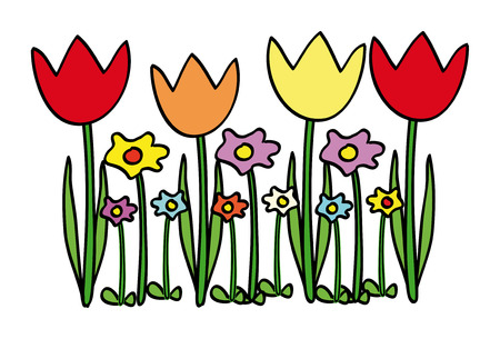 primavera: nice illustration of tulips and other flowers isolated on white Illustration