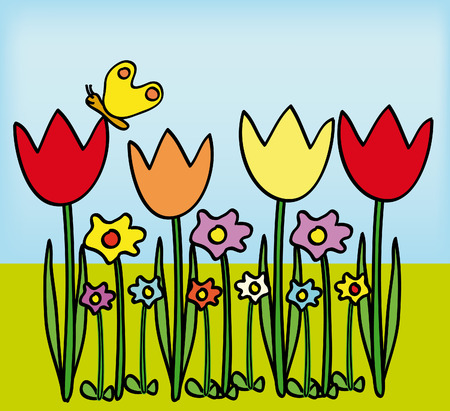 primavera: nice illustration of tulips and other flowers