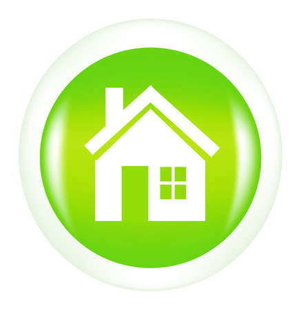 suburban home: nice button with icon of house isolated on white background