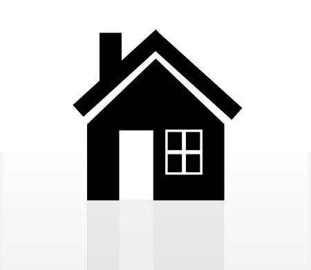 house roof: home icon with reflection isolated on white