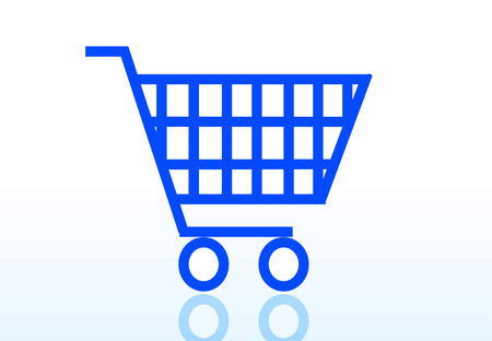 online logo: shopping cart icon isolated on white background Illustration