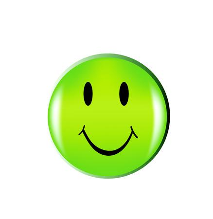 smiley content: beau sourire vert heureux face buton isol�e sur fond blanc  Illustration