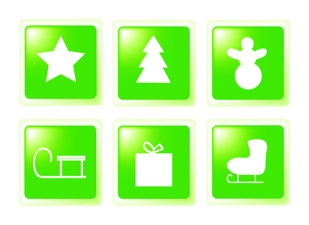 nice set of christmas icons isolated on white background Vector