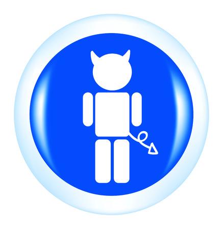 demon: ładny przycisk z diabła samodzielnie na białym tle