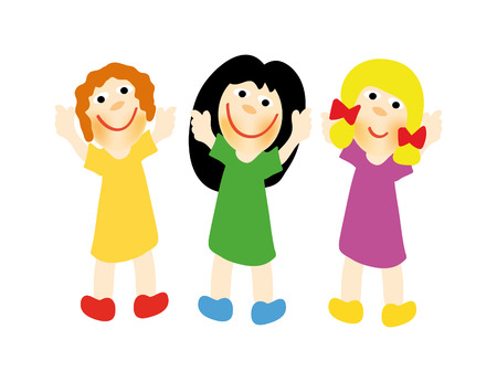 nice illustration of happy girls isolated on white background Vector