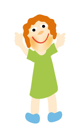 nice illustration of happy girl isolated on white background Vector