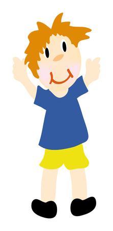 nice hair: nice illustration of happy boy isolated on white background