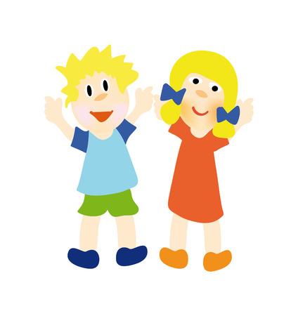 bonita ilustración de felices los niños aislados sobre fondo blanco Ilustración de vector