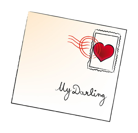 nice illustration of valentine envelope isolated on white background Vector